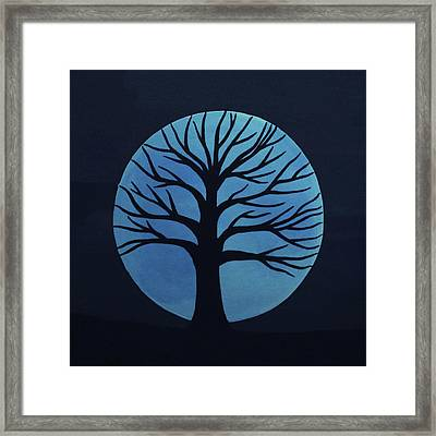 Spooky Tree Blue Framed Print