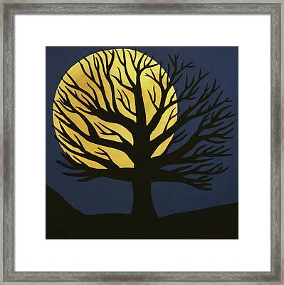 Spooky Tree Yellow Framed Print