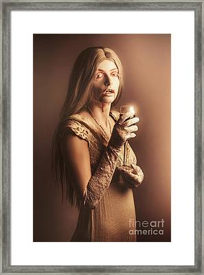 Spooky Vampire Girl Drinking A Glass Of Red Wine Framed Print by Jorgo Photography - Wall Art Gallery