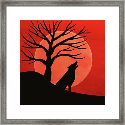 Spooky Wolf Tree Framed Print