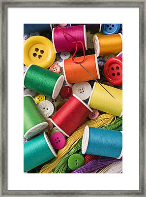 Spools Of Thread With Buttons Framed Print by Garry Gay