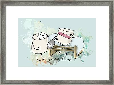 Spoonful Of Sugar Words Illustrated  Framed Print by Heather Applegate