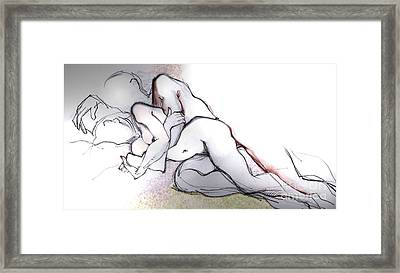 Framed Print featuring the mixed media Spooning - Loving Couple by Carolyn Weltman