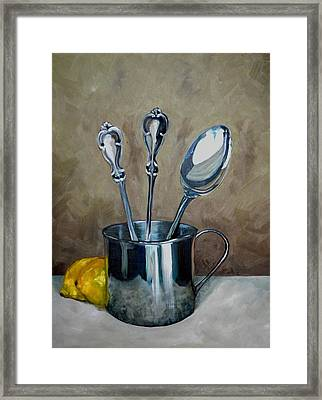 Spoons Lemons And A Baby Cup Framed Print by Amy Higgins