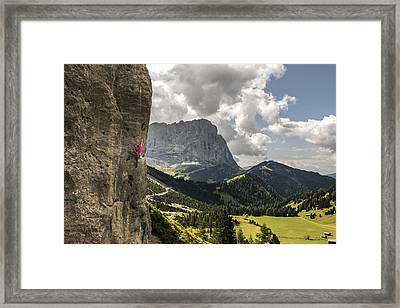 Sport Climbing In The Dolomites Framed Print by James Rushforth