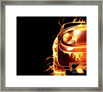 Sports Car In Flames Framed Print by Oleksiy Maksymenko