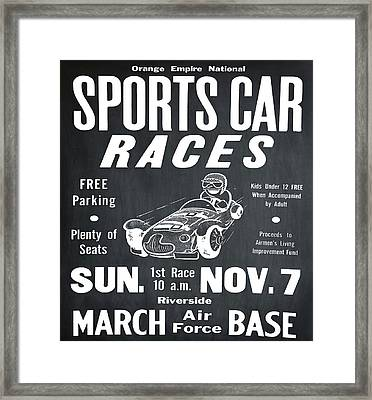 Sports Car Races In Chalk Framed Print by Bill Cannon