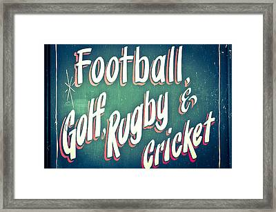 Sports Framed Print by Tom Gowanlock