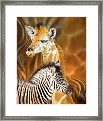 Framed Print featuring the mixed media Spots And Stripes - Giraffe And Zebra by Carol Cavalaris