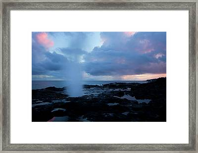 Spouting Horn Sunset Framed Print by Mike  Dawson