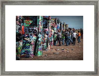 Framed Print featuring the photograph Spray Paint Fun At Cadillac Ranch by Randall Nyhof