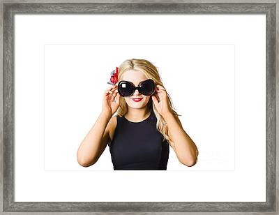 Spray Tan Girl Wearing Goggles. Tanning Beauty Framed Print by Jorgo Photography - Wall Art Gallery
