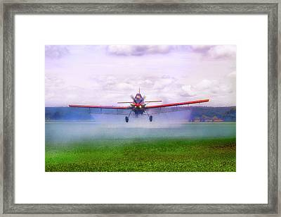 Framed Print featuring the photograph Spraying The Fields - Crop Duster - Aviation by Jason Politte
