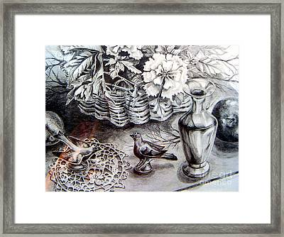 Framed Print featuring the drawing Spring Arrangemnt by Linda Shackelford
