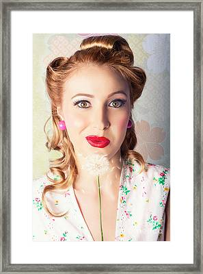 Spring Beauty. Beautiful Retro Girl Blowing Flower Framed Print by Jorgo Photography - Wall Art Gallery
