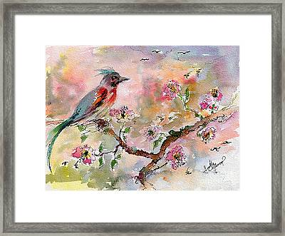 Framed Print featuring the painting Spring Bird Fantasy Watercolor  by Ginette Callaway
