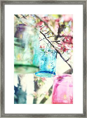 Spring Blossoms And Candles Framed Print