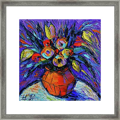 Spring Bouquet In Orange Vase - Impasto Palette Knife Oil Painting Framed Print by Mona Edulesco