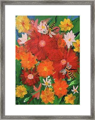 Spring Bumble Bees Framed Print