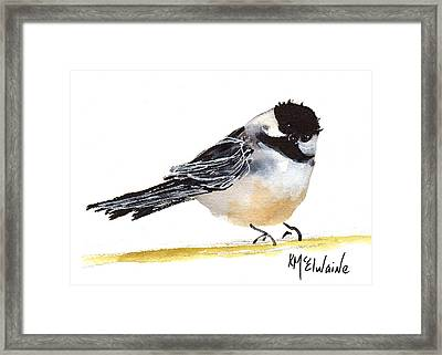 My Little Chickadee Bird Art Watercolor And Gouache And Ink Painting By Kmcelwaine Framed Print