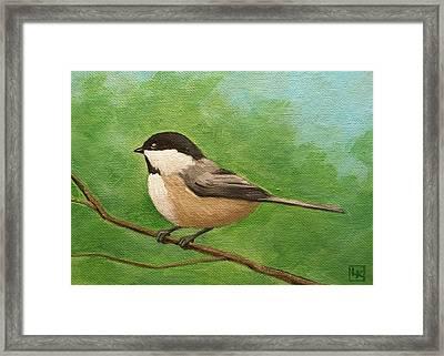 Spring Chickadee Framed Print by Lisa Kretchman