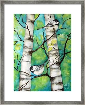 Spring Chickadees Framed Print