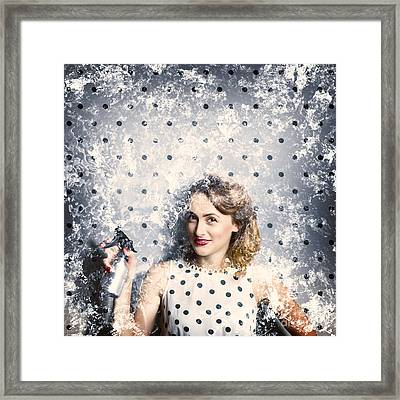 Spring Clean Housewife Framed Print
