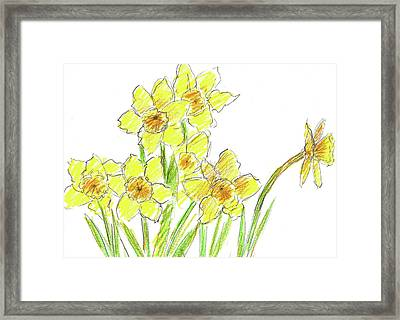 Framed Print featuring the painting Spring Daffodils by Cathie Richardson