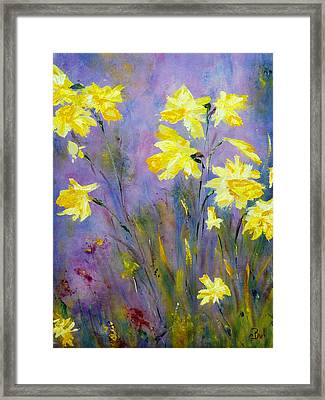 Framed Print featuring the painting Spring Daffodils by Claire Bull