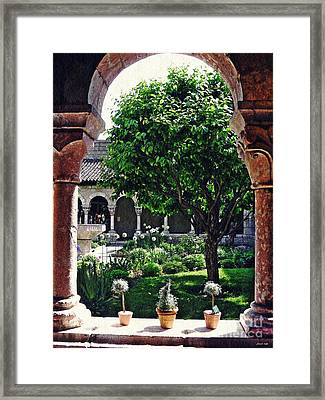 Spring Day At The Cloisters 2 Framed Print