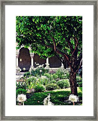 Spring Day At The Cloisters 3 Framed Print by Sarah Loft