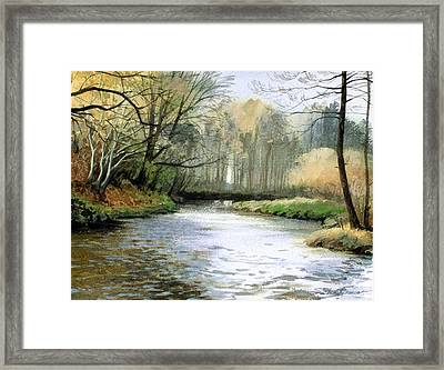 Framed Print featuring the painting Spring Day On A River by Sergey Zhiboedov