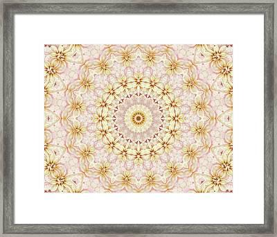 Spring Fantasy Floral Mandala Framed Print by Janusian Gallery