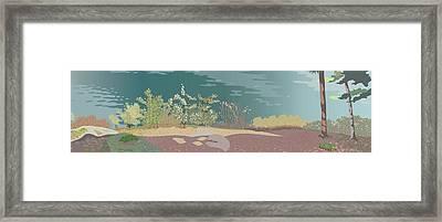 Spring Flora On Lake Shore Framed Print by Marian Federspiel