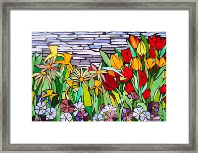 Spring Floral Mosaic Framed Print