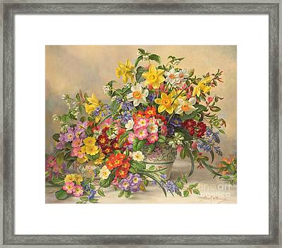 Spring Flowers And Poole Pottery Framed Print by Albert Williams