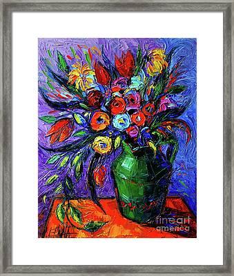 Spring Flowers In Green Jug Framed Print by Mona Edulesco