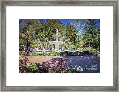 Spring Fountain Framed Print by Joan McCool