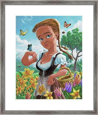 Framed Print featuring the digital art Spring Girl by Martin Davey