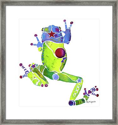 Spring Green Frog Framed Print by Jo Lynch