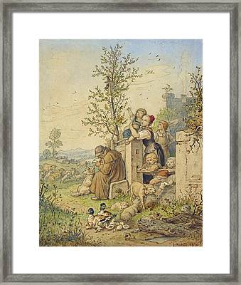 Spring Has Arrived Framed Print by Adrian Ludwig Richter