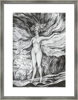 Framed Print featuring the drawing Spring II by Anna  Duyunova