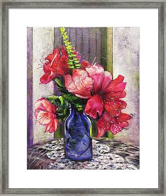 Spring In A Blue Bottle Framed Print