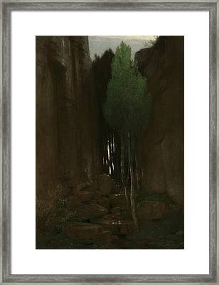 Spring In A Narrow Gorge Framed Print by Arnold Bocklin