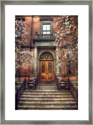 Spring In Boston - Boston Doorways Framed Print