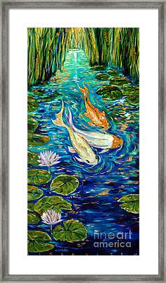 Framed Print featuring the painting Spring Koi by Linda Olsen
