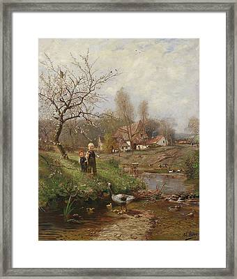 Spring Landscape With Two Children And Geese Framed Print