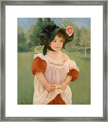 Spring, Margot Standing In A Garden Framed Print