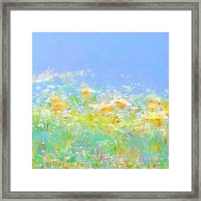Spring Meadow Abstract Framed Print by Menega Sabidussi