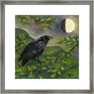 Spring Moon Raven Framed Print by FT McKinstry